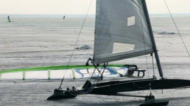 Ice Yacht — Stock Video