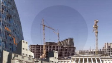 Construction skyscrapers time lapse — Stock Video