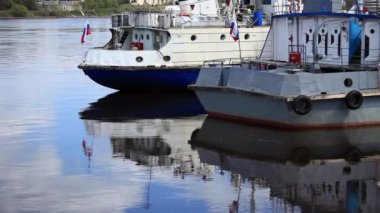 Moored River ships — Video Stock