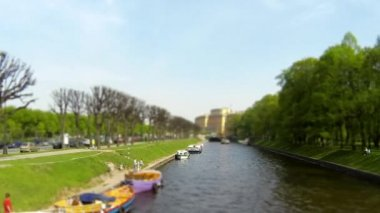 River passenger boat on the canal time lapse — Stock Video