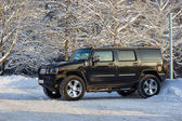 Black car in the winter woods — Stock Photo