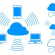 Cloud computing icons - Stok Vektör
