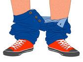 Pris avec votre pantalon vers le bas — Vecteur