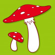 Colourful red spotted fly agaric — Stock Vector