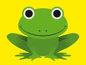 Ładny szczęśliwy uśmiechający się zielona żaba — Wektor stockowy