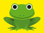 Cute happy smiling green frog — Stock Vector