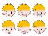 Little boy facial emotions set — Cтоковый вектор