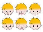 Sada malý chlapec obličeje emoce — Stock vektor