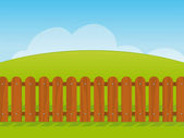 Cartoon landscape with a wooden fence — Stock Vector
