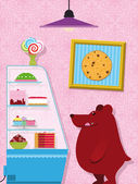 Hungry little bear in a confectionery shop — Stockvector