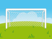 Cartoon goalposts with a net — Stock Vector