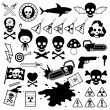 Stock Vector: Set of danger skull icons