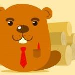 Cute cartoon beaver salesman — Stock Vector #18654995