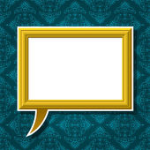 Golden picture frame speech bubble on background — Stock Vector