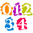 Colour doodle splash numbers digits 01234 — Stock Vector