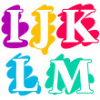 Colour doodle splash alphabet letters IJKLM — Stock Vector
