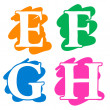 Colour doodle splash alphabet letters EFGH — Stock Vector