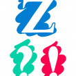 Colour doodle alphabet letter Z interrogation mark — ストックベクタ #26469867
