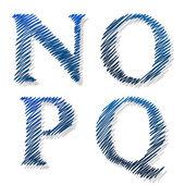 Doodle scribble ballpoint alphabet letters NOPQ — Stock Vector