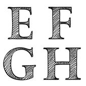 Doodle scribble sketch alphabet letters EFGH — Stock Vector