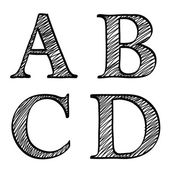 Doodle scribble sketch alphabet letters ABCD — Stock Vector