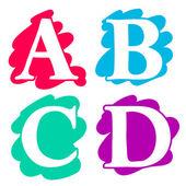 Colour doodle splash alphabet letters ABCD — Stock Vector