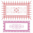 Vintage frame sketch in red and pink — Stock Vector