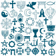 Graphic symbols of different religions on white — Stock Vector