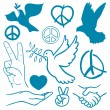 Stock Vector: Collection of peace and love themed icons