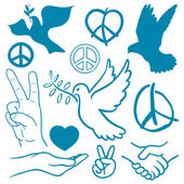 Collection of peace and love themed icons — Stock Vector