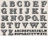 Retro illustration of a complete antiqua alphabet — Stock Vector