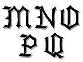 Illustration vectorielle de lettres de l'alphabet gotique — Vecteur