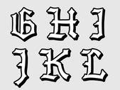 Vectorillustratie van gotische Alfabetletters — Stockvector