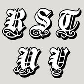 Gothic alphabet letters r, s, t, u, v — Stock Vector