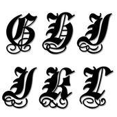 Gothic alphabet letters g, h, i, j, k, l — Stock Vector