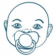 Baby sucking a pacifier — Stock Vector
