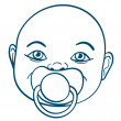 Stock Vector: Baby sucking pacifier