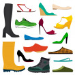 Collection of various shoes — Stock Vector