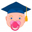 Baby head with graduation mortar — Stock Vector