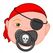 Baby head with pirate pacifier — Stock Vector