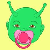 Tête de bébé vert extraterrestre — Vecteur