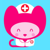 Kawaii little pink girl cat nurse doctor — Stockvector