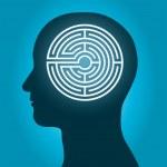 Постер, плакат: Head with a labyrinth man profile