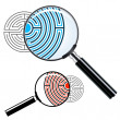 Magnifying glass over a labyrinth — Stock Vector