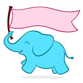 Cute little elephant with a banner — Stock Vector