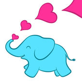 Baby elephant calf with pink hearts — Vector de stock