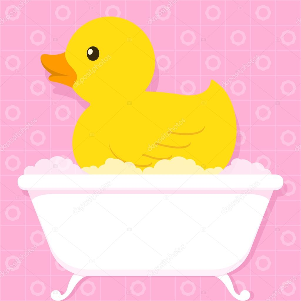 Yellow Duck In Bathtub With Bubbles Stock Vector 169 A N