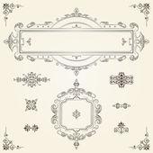 Ornamental vintage rectangular border frames — Stock Vector