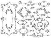 Ornament design elements black on white — Stock Vector