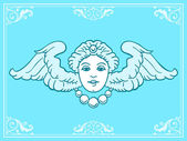 Beautiful angel head with wings — Vettoriale Stock